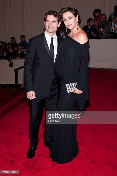 Jeff Gordon and Ingrid Vandebosch attend 'American Woman Fashioning A National Identity' Costume Institute Gala at The Metropolitan Museum of Art in...