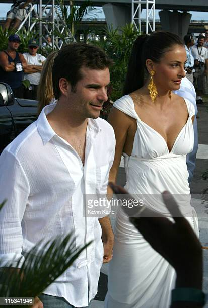 Jeff Gordon and Ingrid VandeBosch during 2005 MTV Video Music Awards - Arrivals at American Airlines Arena in Miami, Florida, United States.