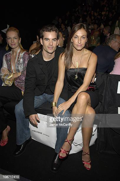 Jeff Gordon and Ingrid Vandebosch during Olympus Fashion Week Spring 2006 Luca Luca Front Row and Backstage at Bryant Park in New York City New York...