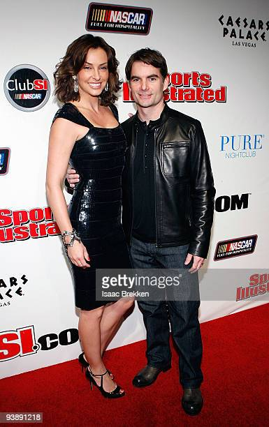 Jeff Gordon and wife Ingrid Vandebosch arrive at Sports Illustrated's Club SI NASCAR at PURE Nightclub at Caesars Palace on December 3 2009 in Las...