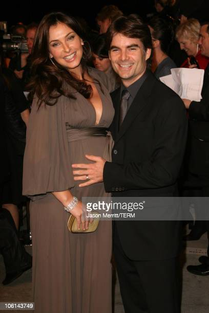 Jeff Gordon and wife Ingrid Vandebosch during 2007 Vanity Fair Oscar Party Hosted by Graydon Carter at Mortons in West Hollywood California United...