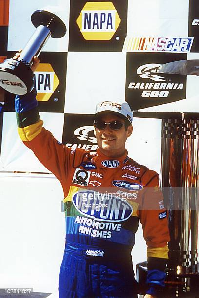 Jeff Gordon celebrates his win in the California 500 Presented by NAPA The race was the first NASCAR Cup event at the new California Speedway