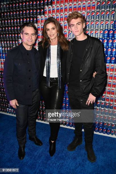 Jeff Gordon Cindy Crawford and Presley Gerber at Pepsi Generations Live PopUp on February 2 2018 in Minneapolis Minnesota
