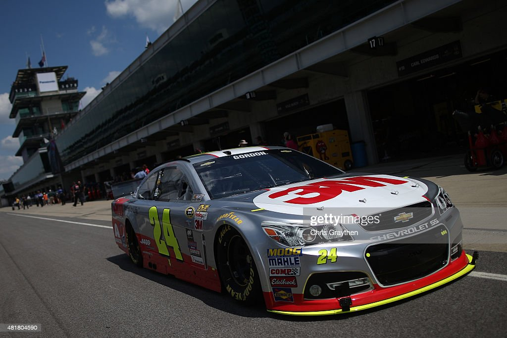 Jeff Gordon, driver of the #24 3M Chevrolet, drives through the garage area during practice for the NASCAR Sprint Cup Series Crown Royal Presents the Jeff Kyle 400 at the Brickyard at Indianapolis Motorspeedway on July 24, 2015 in Indianapolis, Indiana.