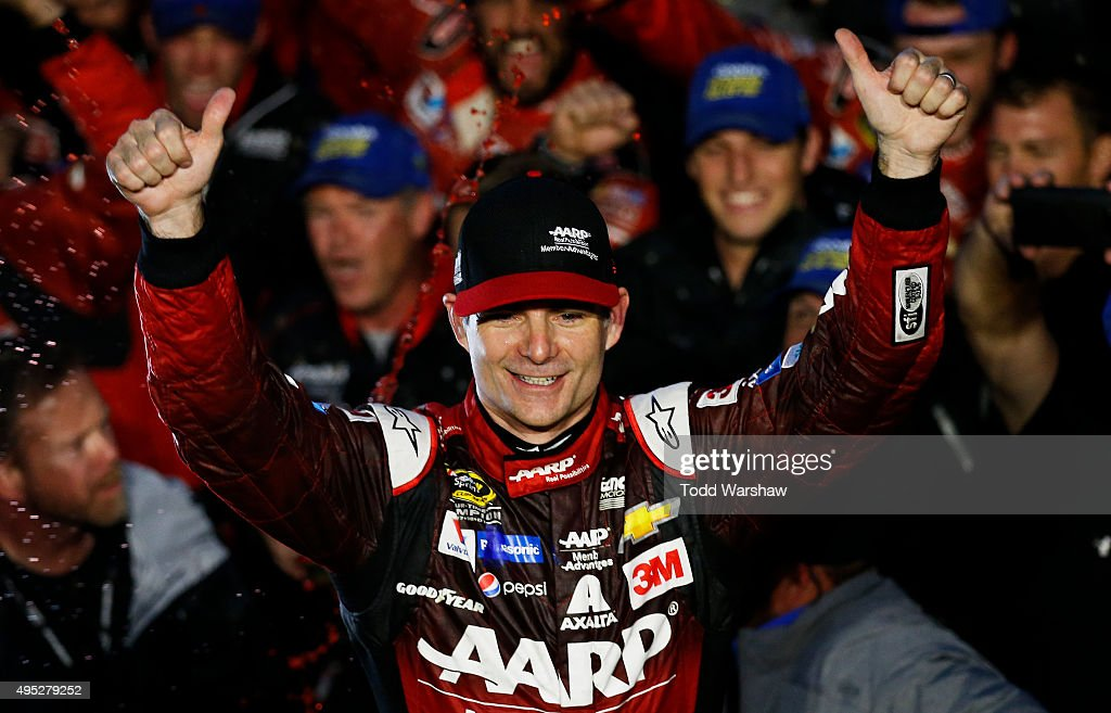 Jeff Gordon, driver of the #24 AARP Member Advantages Chevrolet, celebrates in Victory Lane after winning the NASCAR Sprint Cup Series Goody's Headache Relief Shot 500 at Martinsville Speedway on November 1, 2015 in Martinsville, Virginia.