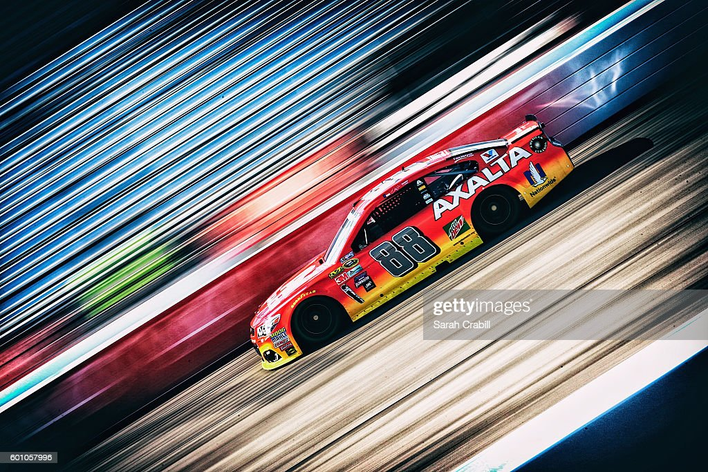 Jeff Gordon, driver of the #88 Axalta Chevrolet, practices for the NASCAR Sprint Cup Series Federated Auto Parts 400 at Richmond International Raceway on September 9, 2016 in Richmond, Virginia.