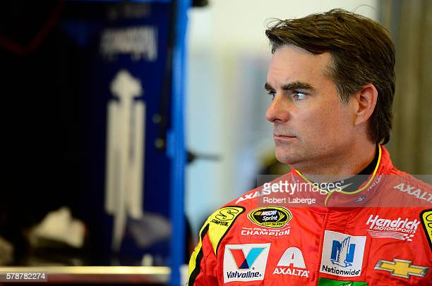 Jeff Gordon, driver of the Axalta Chevrolet, prepares to drive during practice for the NASCAR Sprint Cup Series Crown Royal presents the Combat...