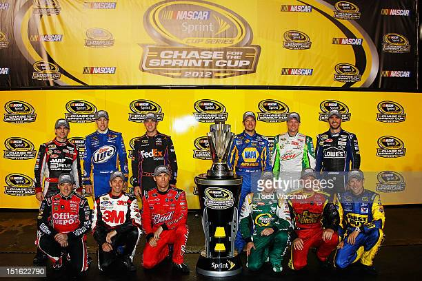 Jeff Gordon driver of the Drive to End Hunger Chevrolet Brad Keselowski driver of the Miller Lite Dodge Denny Hamlin driver of the FedEx Express...