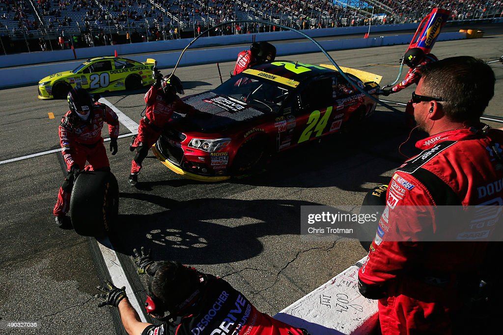 Jeff Gordon, driver of the #24 Drive To End Hunger Chevrolet, pits during the NASCAR Sprint Cup Series SYLVANIA 300 at New Hampshire Motor Speedway on September 27, 2015 in Loudon, New Hampshire.