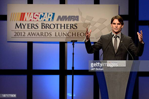 Jeff Gordon driver of the DuPont 20 Years Celebratory Chevrolet speaks after winning the Myers Brothers Award during the NASCAR NMPA Myers Brothers...