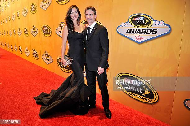 Jeff Gordon driver of the DuPont Chevrolet and his wife Ingrid Vandebosch arrive on the red carpet for the NASCAR Sprint Cup Series Champion's Awards...