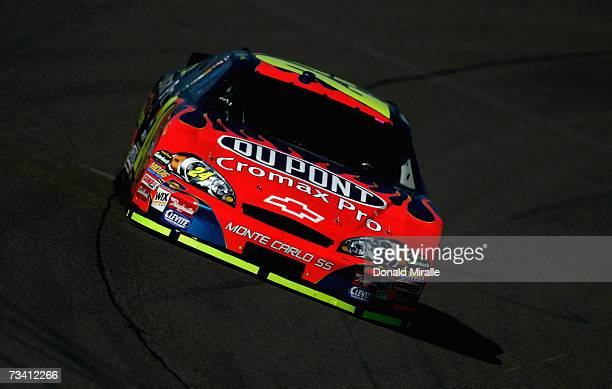 Jeff Gordon, driver of the DuPont Chevrolet, drives during practice for the NASCAR Nextel Cup Series Auto Club 500 at California Speedway on February...