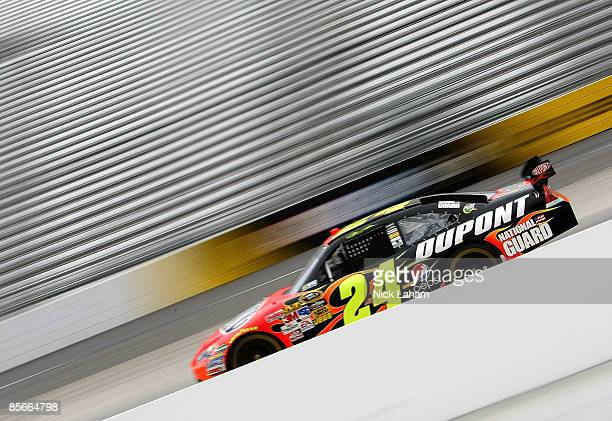 Jeff Gordon driver of the DuPont Chevrolet drives during practice for the NASCAR Sprint Cup Series Goody�s Fast Pain Relief 500 at the Martinsville...