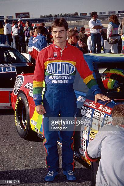 Jeff Gordon driver of the DuPont Chevrolet gets ready for his first NASCAR Cup race in he Hooters 500 at the Atlanta Motor Speedway on November 15...