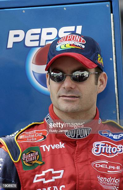 Jeff Gordon driver of the Dupont Chevrolet Monte Carlo looks on during practice for the NASCAR Winston Cup Series Food City 500 at Bristol Motor...