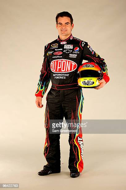 Jeff Gordon, driver of the Dupont Chevrolet, poses during NASCAR media day at Daytona International Speedway on February 4, 2010 in Daytona Beach,...