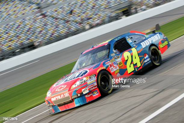 Jeff Gordon driver of the DuPont Chevrolet practices for the Budweiser Shootout at Daytona International Speedway on February 8 2008 in Daytona...