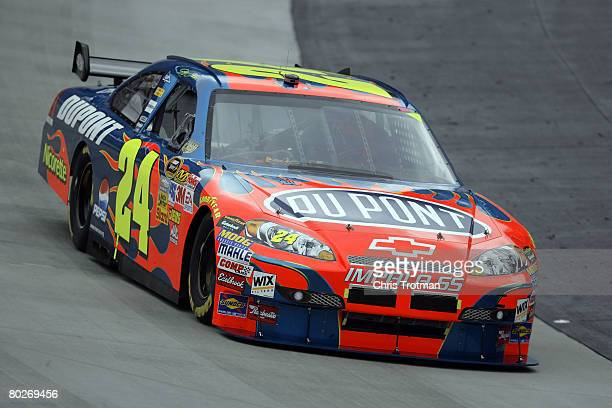 Jeff Gordon driver of the Dupont Chevrolet races during the NASCAR Sprint Cup Series Food City 500 at the Bristol Motor Speedway on March 16 2008 in...