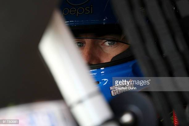 Jeff Gordon driver of the DuPont/Pepsi Chevrolet prepares to drive during practice for the NASCAR Sprint Cup Series Pepsi 500 at Auto Club Speedway...