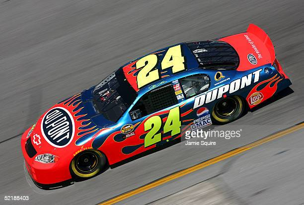 Jeff Gordon driver of the Hendrick Motorsports Dupont Chevrolet in action during practice for the NASCAR Nextel Cup Daytona 500 on February 12 2005...