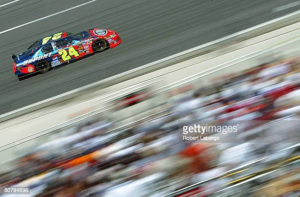 Jeff Gordon driver of the Hendrick Motorsports DuPont Chevrolet on track during the NASCAR Nextel Cup Series Auto Club 500 on May 2, 2004 at the...