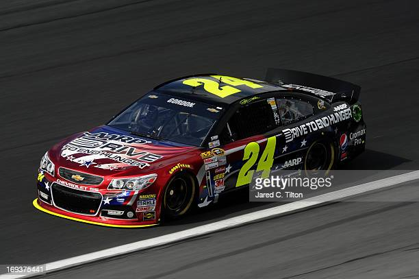Jeff Gordon drives the Drive To End Hunger Chevrolet during practice for the NASCAR Sprint Cup Series CocaCola 600 at Charlotte Motor Speedway on May...
