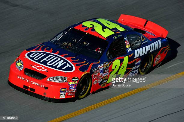 Jeff Gordon drives the Hendrick Motorsports DuPont Chevrolet during practice for the Budweiser Shootout at the NASCAR Nextel Cup Daytona 500 on...