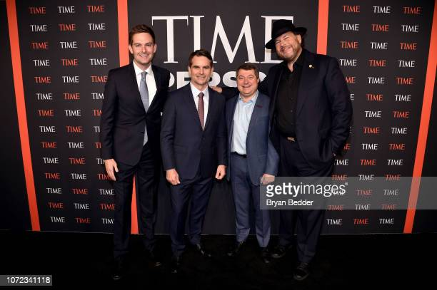 Jeff Gordon Edward Felsenthal and Marc Benioff and guest attend the TIME Person Of The Year Celebration at Capitale on December 12 2018 in New York...