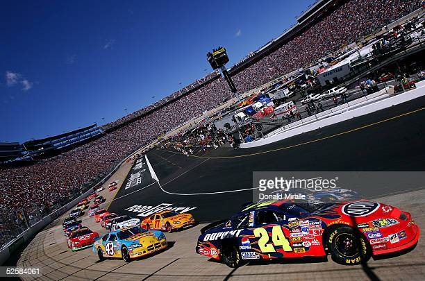 Jeff Gordon in his Dupont Chevrolet races in front of the pack at the start during the Food City 500 part of the Nascar Nextel Series Race on April 3...