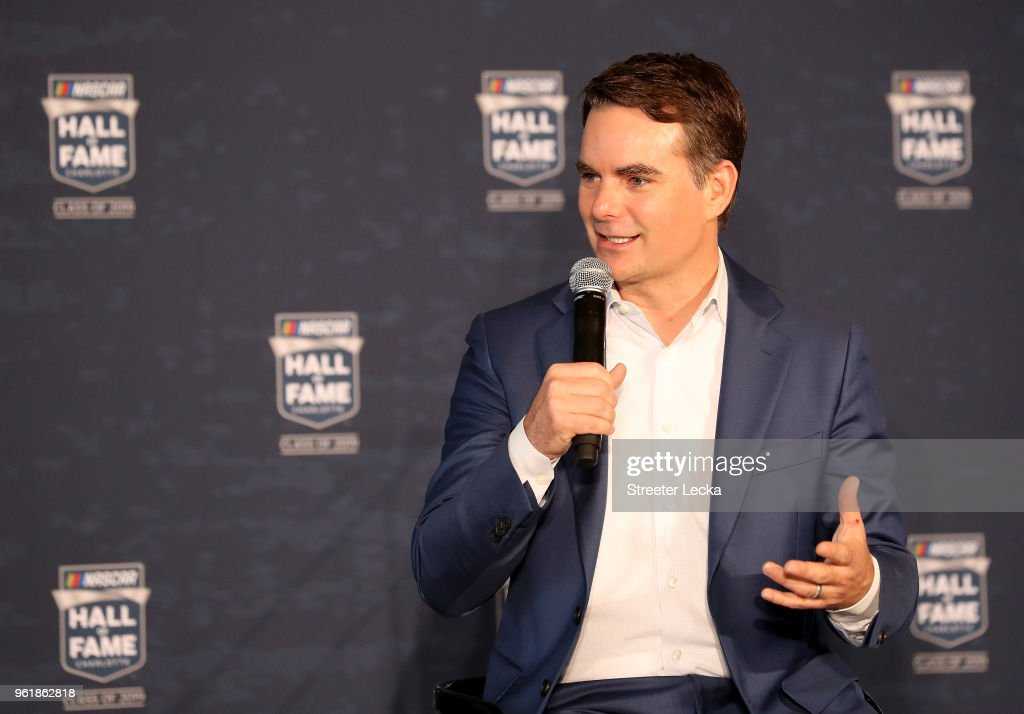 Jeff Gordon is announced as a 2019 NASCAR Hall of Fame inductee during the NACAR Hall of Fame Voting Day at NASCAR Hall of Fame on May 23, 2018 in Charlotte, North Carolina.