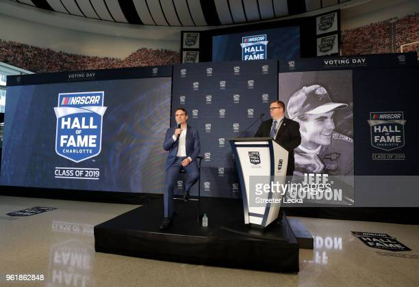 Jeff Gordon is announced as a 2019 NASCAR Hall of Fame inductee during the NACAR Hall of Fame Voting Day at NASCAR Hall of Fame on May 23 2018 in...