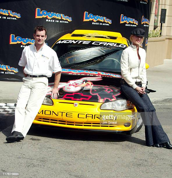 Jeff Gordon Jenna Elfman during Jeff Gordon and Jenna Elfman Team Up to Unveil a Race Car Pace Car and Spy Car at Warner Bros Studios in Burbank...