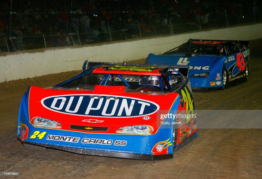 Jeff Gordon #24 leads Bobby LaBonte #43 during the Nextel Prelude to the Dream on June 6, 2007 at Eldora Speedway in New Weston, Ohio.