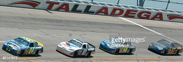 Jeff Gordon leads Scott Riggs and Jimmie Johnson during the Aaron's 499 Nextel Cup race Sunday May 1 2005 at the Talladega Superspeedway