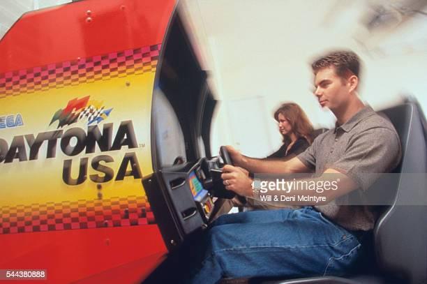 Jeff Gordon Playing Car Racing Video Game