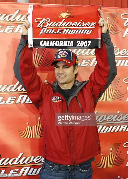 Jeff Gordon winner of the Budweiser Pole Award at the Auto Club 500 being run at the California Speedway Fontana Ca Feb 23 2007 Jeff Gordon won the...