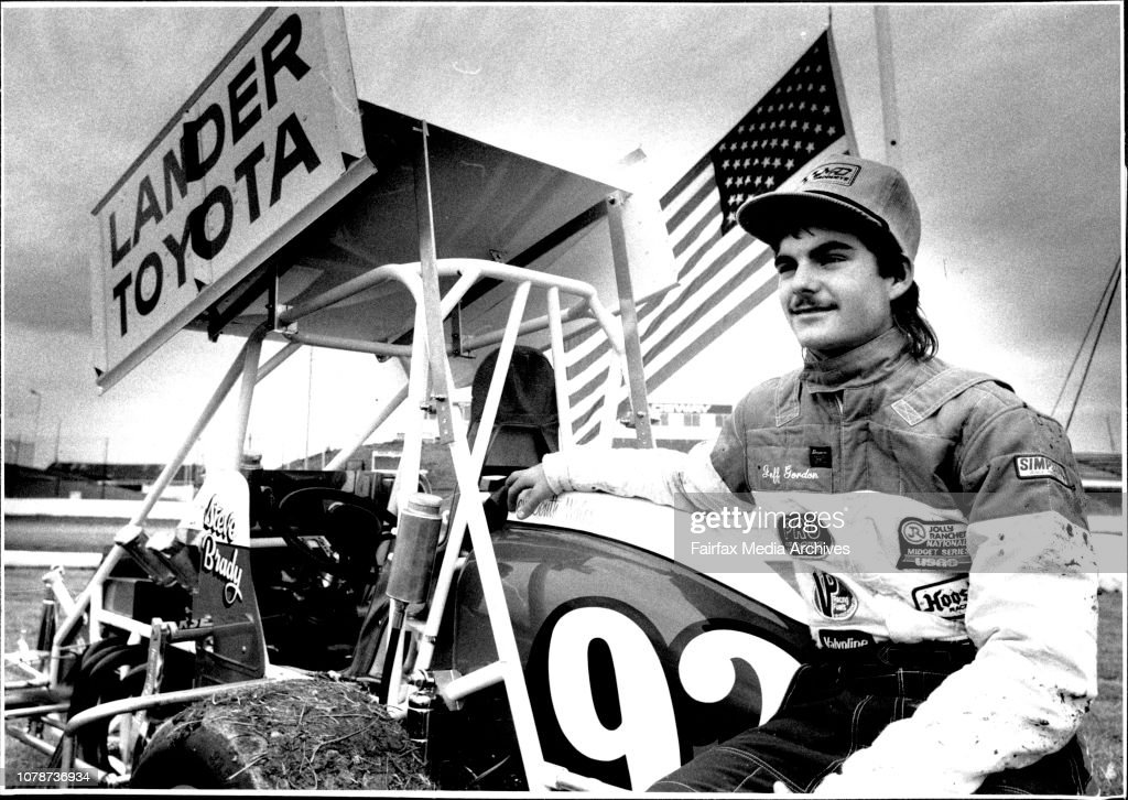 Jeff Gordon with a sprint car at the track. : News Photo