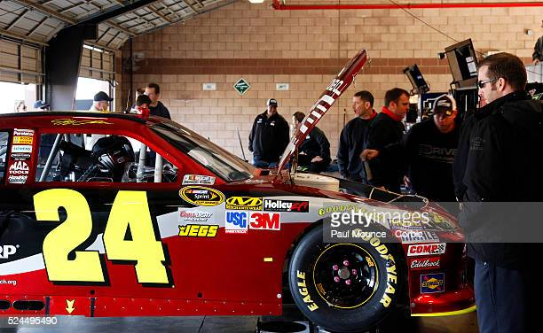 Jeff Gordon's crew preps his car for the NASCAR Sprint Cup Auto Club 400 held at the Auto Club Speedway.