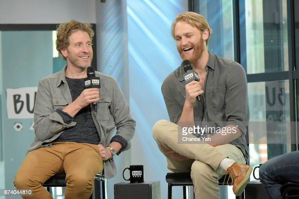 """Jeff Grace (L0 and Wyatt Russell attends Build series to discuss """"Folk Hero & Funny Guy"""" at Build Studio on April 27, 2017 in New York City."""