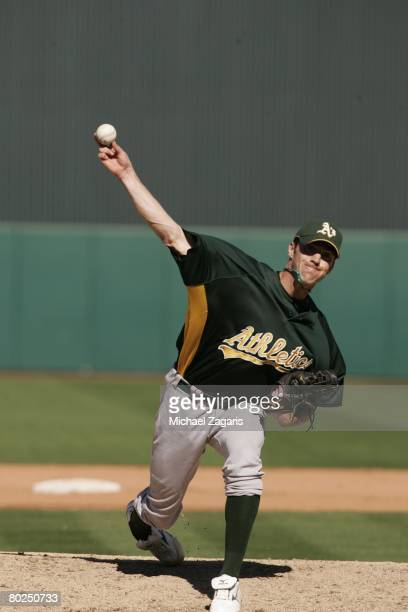 Jeff Gray of the Oakland Athletics during the MLB game against the Los Angeles Angels of Anaheim at Tempe Diablo Stadium on March 3 2008 in Phoenix...