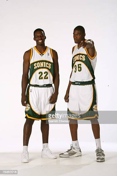 Jeff Green and Kevin Durant of the Seattle SuperSonics pose for a portrait on July 10 2007 at the Palms Hotel in Las Vegas Nevada NOTE TO USER User...