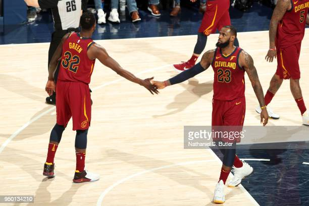 Jeff Green and LeBron James of the Cleveland Cavaliers high five during the game against the Indiana Pacers in Game Four of Round One of the 2018 NBA...