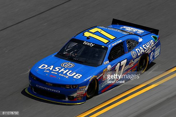 Jeff Green driver of the Dashubcom Dodge practices for the NASCAR XFINITY Series PowerShares QQQ 300 at Daytona International Speedway on February 19...