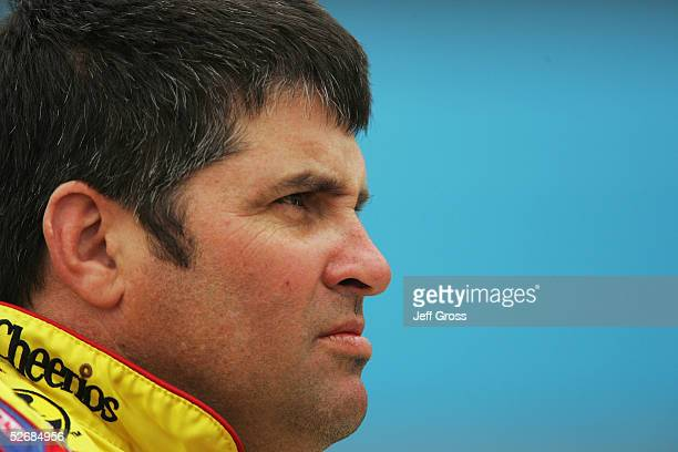 Jeff Green driver of the Petty Enterprises Cheerios/Betty Crocker Dodge looks on during qualifying for the NASCAR Nextel Cup Series Subway Fresh 500...
