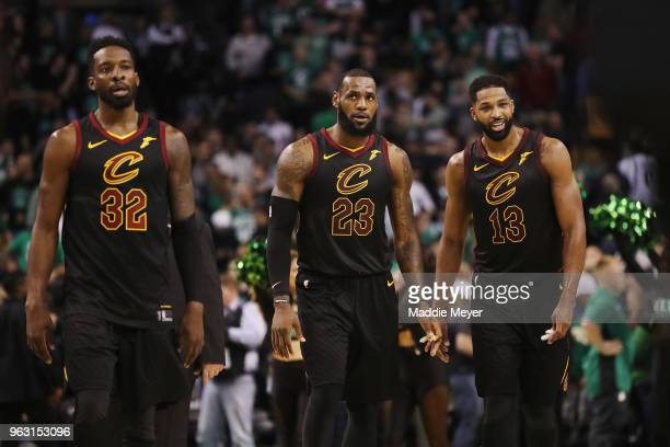 Jeff Green LeBron James and Tristan Thompson of the Cleveland Cavaliers look on in the first half against the Boston Celtics during Game Seven of the...