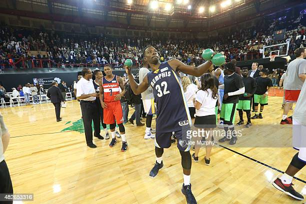 Jeff Green of Team World throws balls out after the NBA Africa Game 2015 as part of Basketball Without Boarders on August 1, 2015 at Ellis Park Arena...