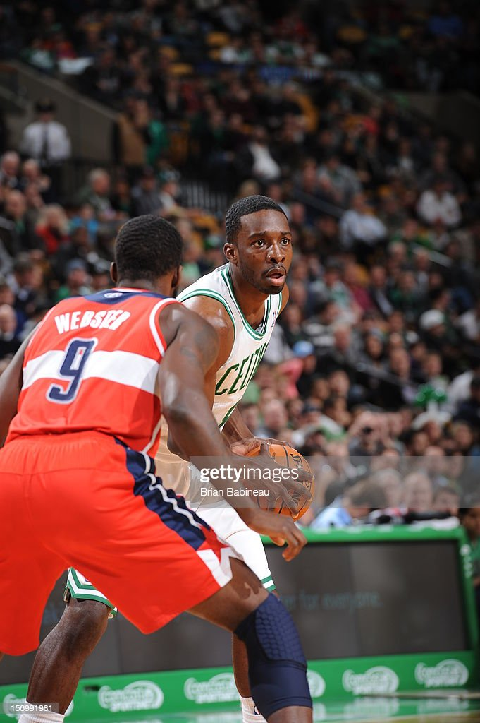 Jeff Green #8 of the Boston Celtics controls the ball against Martell Webster #9 of the Washington Wizards on November 7, 2012 at the TD Garden in Boston, Massachusetts.