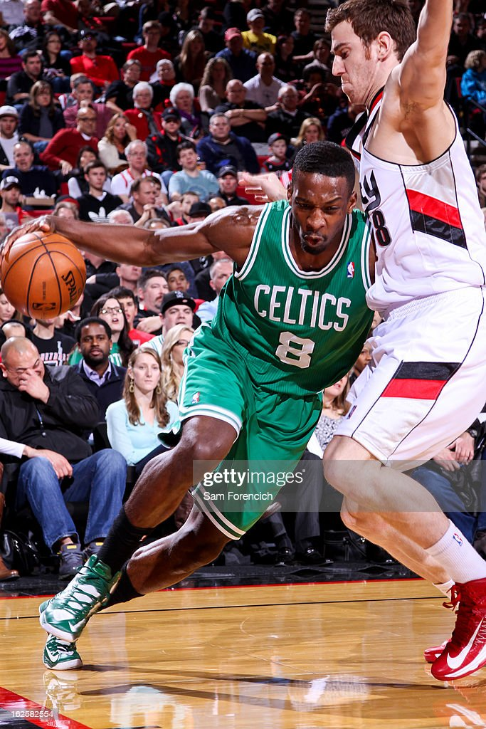 Jeff Green #8 of the Boston Celtics drives against Victor Claver #18 of the Portland Trail Blazers on February 24, 2013 at the Rose Garden Arena in Portland, Oregon.