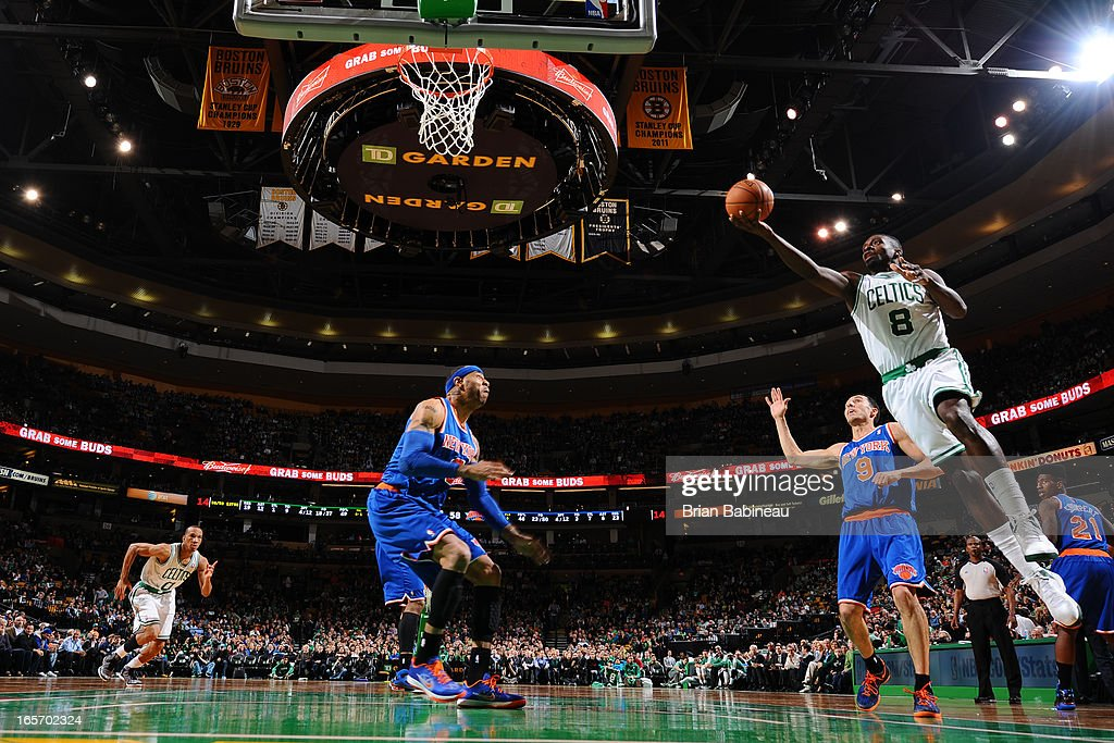 Jeff Green #8 of the Boston Celtics drives to the basket against the New York Knicks on March 26, 2013 at the TD Garden in Boston, Massachusetts.