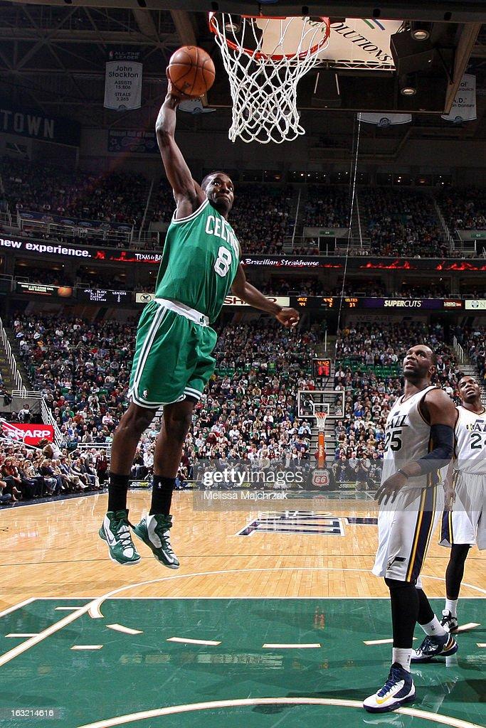Jeff Green #8 of the Boston Celtics dunks the ball against the Utah Jazz at Energy Solutions Arena on February 25, 2013 in Salt Lake City, Utah.